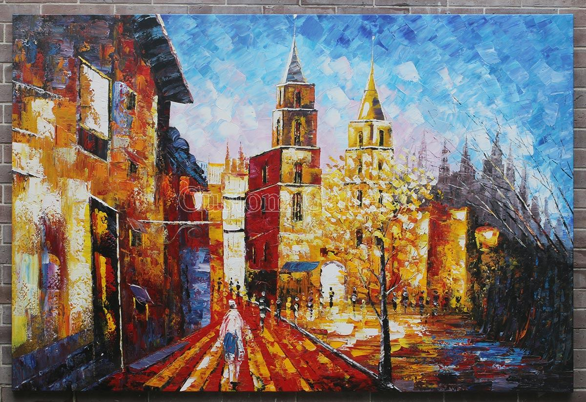 Modern Streetscape Knife Painting
