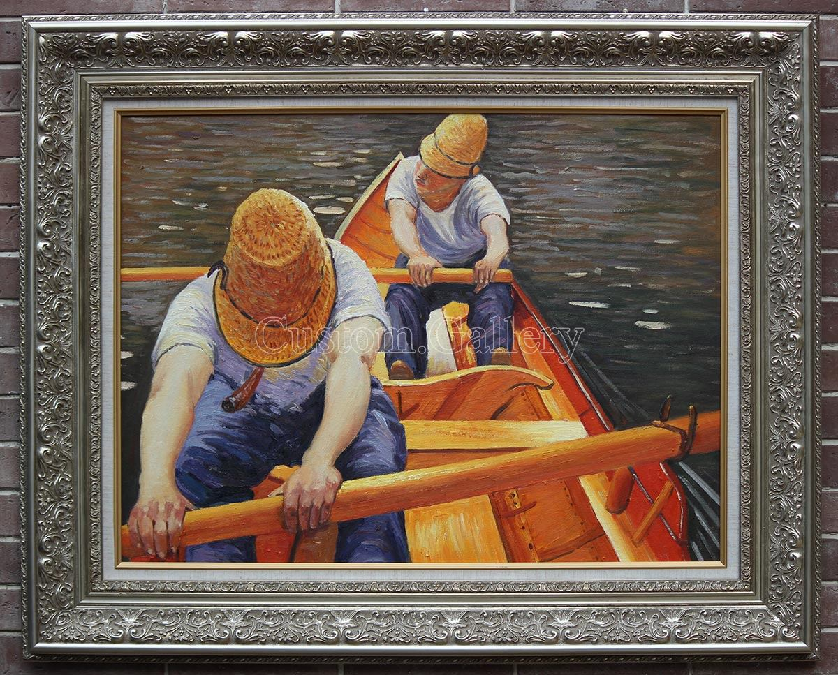 Boaters Rowing on the Yerres by Gustave Caillebotte