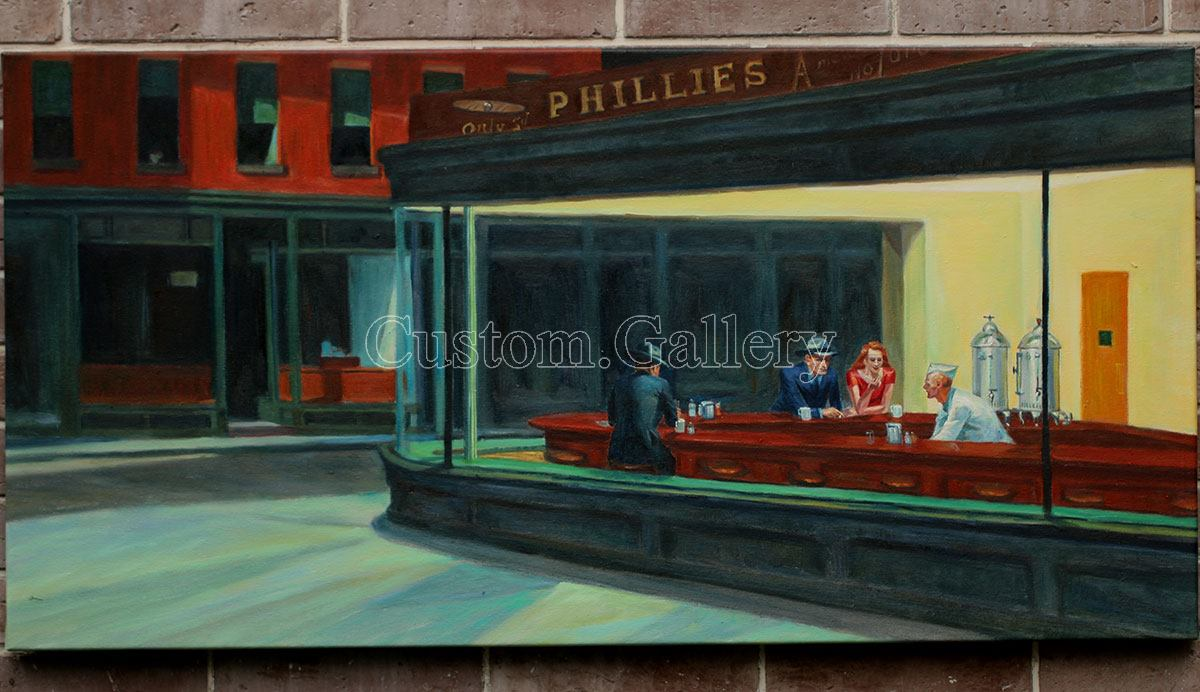 Nighthawks by Edward Hopper Oil Painting Reproduction